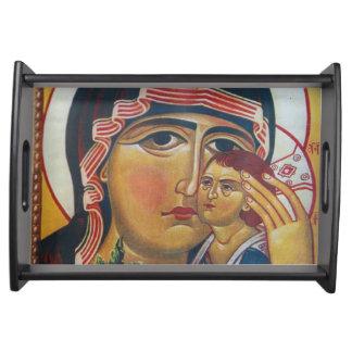 Bandeja Mãe Mary e arte de Jesus