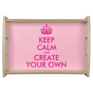 Bandeja Mantenha a calma e criar seus próprios - rosa