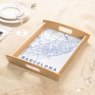 Bandeja Mapa da cidade de Barcelona azul