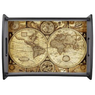 Bandeja Mapa de Velho Mundo à moda e elegante do vintage