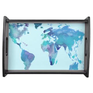 Bandeja Mapa do mundo do azul da aguarela