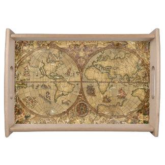 Bandeja Mapa do mundo do vintage