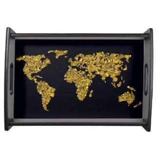 Bandeja Mapa do mundo dourado do ponto