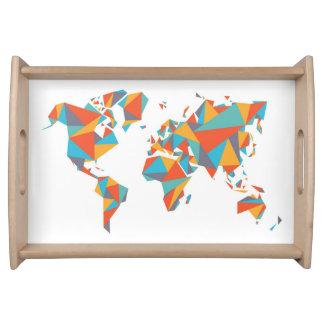 Bandeja Mapa do mundo geométrico abstrato