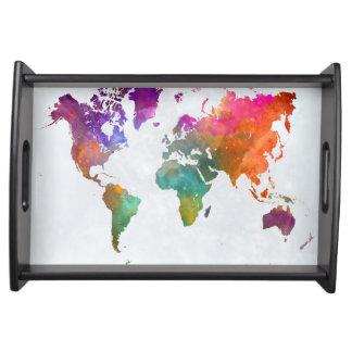 Bandeja Mapa do mundo na aguarela