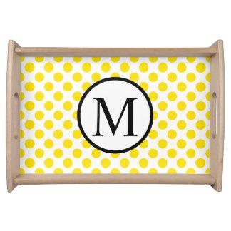 Bandeja Monograma simples com bolinhas amarelas