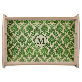 Bandeja Monograma verde elegante do damasco