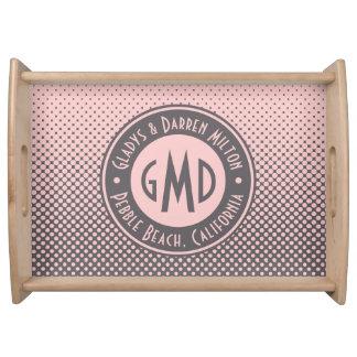 Bandeja Na moda cinzento cor-de-rosa milenar do monograma