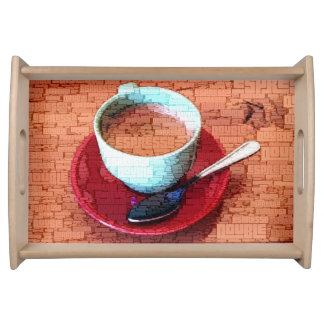 Bandeja Nuvem da palavra do copo e da colher do café
