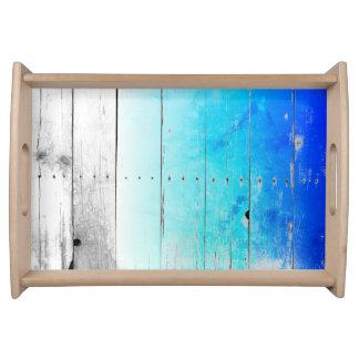 Bandeja O azul da madeira lançada costa pintou náutico