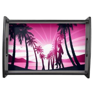 Bandeja O conselho de surf no nascer do sol