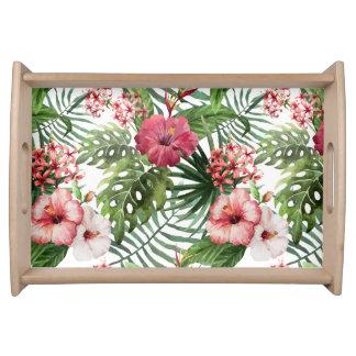 Bandeja O hibiscus tropical floresce o teste padrão da