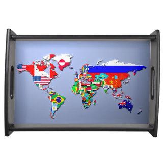 Bandeja O mapa do mundo com suas bandeiras