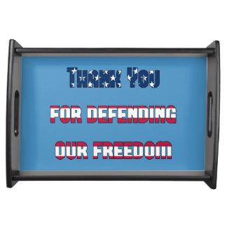 Bandeja Obrigado defendendo nossa liberdade patriótica