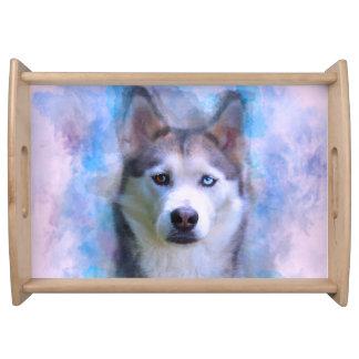 Bandeja Pintura da arte da cor de água do cão do rouco