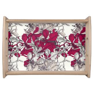 Bandeja Pintura floral do vintage elegante da arte de