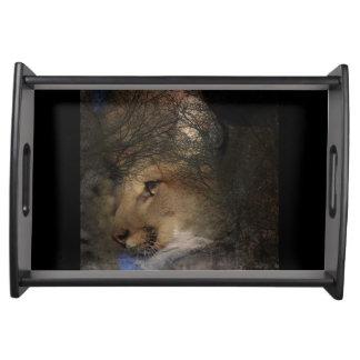 Bandeja Puma selvagem do leão de montanha da silhueta da