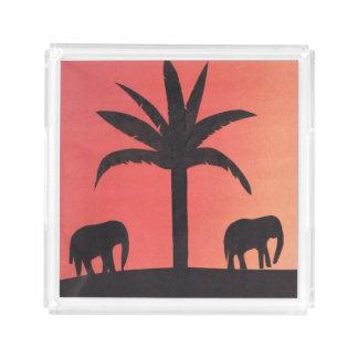 Bandeja quadrada do serviço com design do elefante