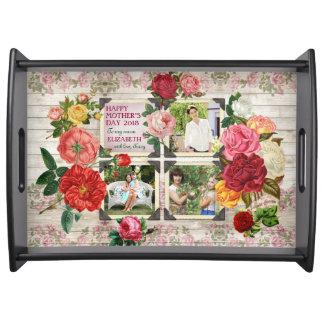Bandeja Quadro da foto do vintage dos rosas do dia das