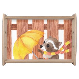Bandeja racoon com guarda-chuva que anda pela cerca
