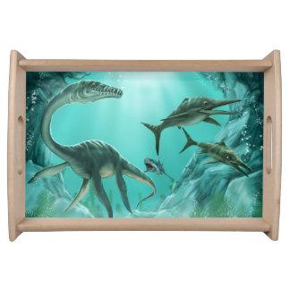 Bandeja subaquática do serviço do dinossauro