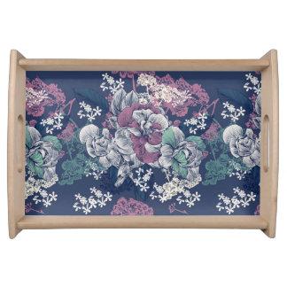 Bandeja Teste padrão artística do esboço floral roxo azul