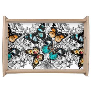 Bandeja Teste padrão colorido do esboço das borboletas