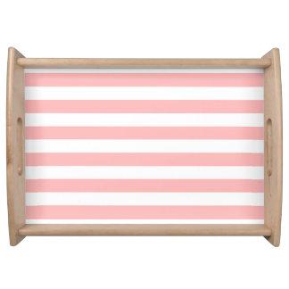 Bandeja Teste padrão cor-de-rosa e branco da listra
