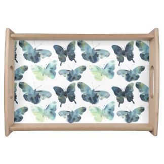 Bandeja Teste padrão de borboletas azul verde artístico da