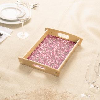 Bandeja Teste padrão de ondas abstrato cor-de-rosa.