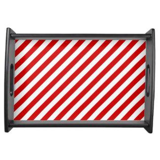 Bandeja Teste padrão diagonal vermelho e branco das