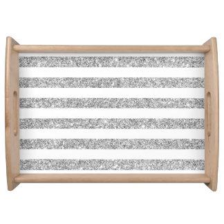 Bandeja Teste padrão elegante da listra do brilho da prata