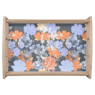 Bandeja Teste padrão floral alaranjado violeta cinzento do