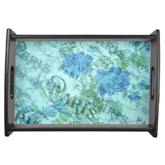 Bandeja Teste padrão floral azul do carimbo postal de