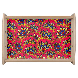 Bandeja Teste padrão floral vibrante vermelho asiático