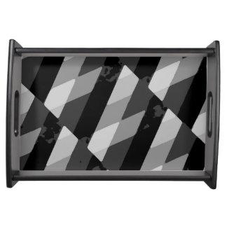 Bandeja Teste padrão listrado do Grunge preto e branco