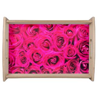 Bandeja Teste padrão roxo cor-de-rosa romântico dos rosas