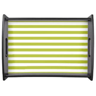 Bandeja Teste padrão verde e branco da listra