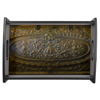 Bandeja velhos florais elegantes da decoração do metal do