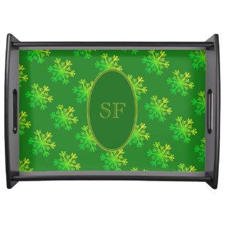 Bandeja Verde do floco de neve e monograma festivos do