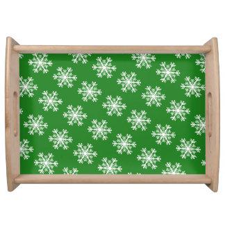 Bandeja Verde e branco festivos do floco de neve