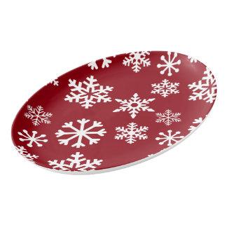 Bandeja vermelha do serviço do floco de neve -