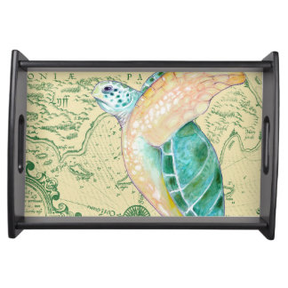 Bandeja Vintage do mapa de Tan da tartaruga de mar
