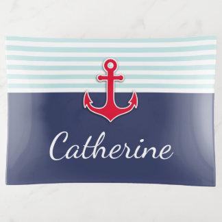 Bandejas A âncora náutica do vermelho de azuis marinhos