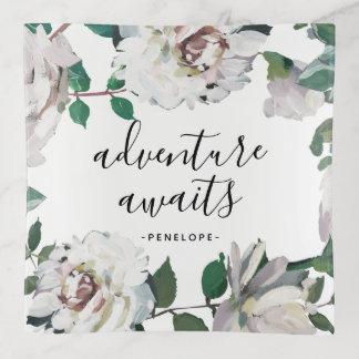 Bandejas A aventura floral bonito espera com nome