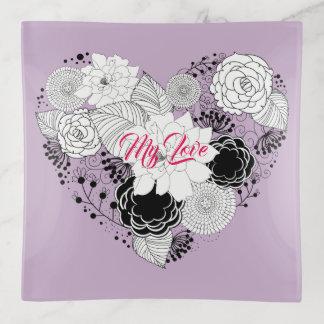 Bandejas Amor floral dos namorados do coração