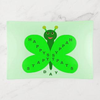 Bandejas Bandeja do Trinket da borboleta do dia de Patricks