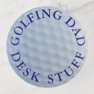 Bandejas Bandeja redonda de vidro Golfing do Trinket da