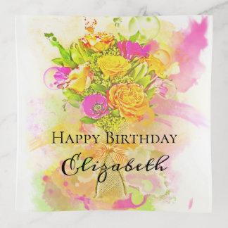 Bandejas Buquê da flor da aguarela do aniversário