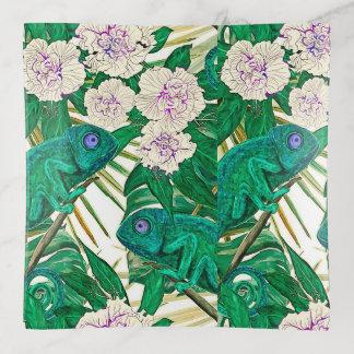 Bandejas Camélias & camaleões tropicais